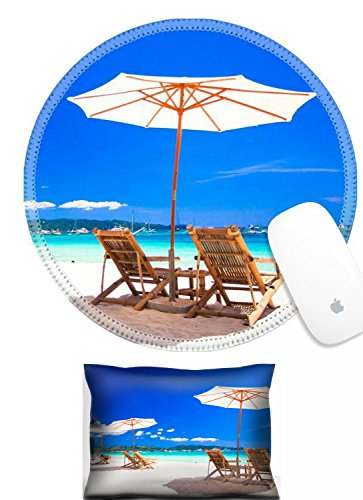 Luxlady Mouse Wrist Rest and Round Mousepad Set, 2pc IMAGE: 25361313 Beach chairs on exotic tropical white sandy (Best Luxlady Mousepad Beach Chairs)