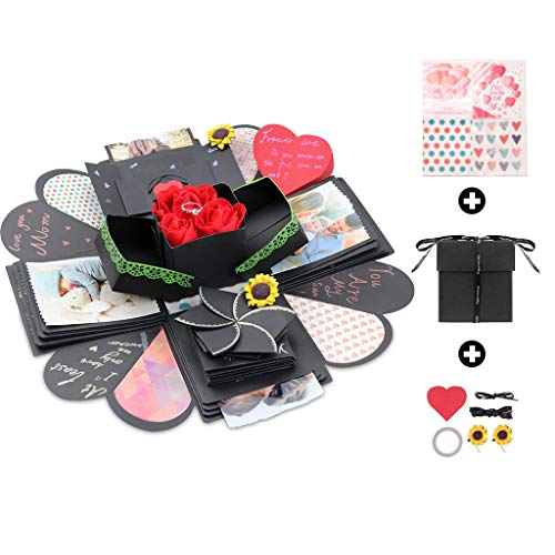(Kicpot Creative Explosion Gift Box, Love Memory DIY Photo Album as Birthday Gift and Surprise Box About Love Opend with 14''x14''(Black))