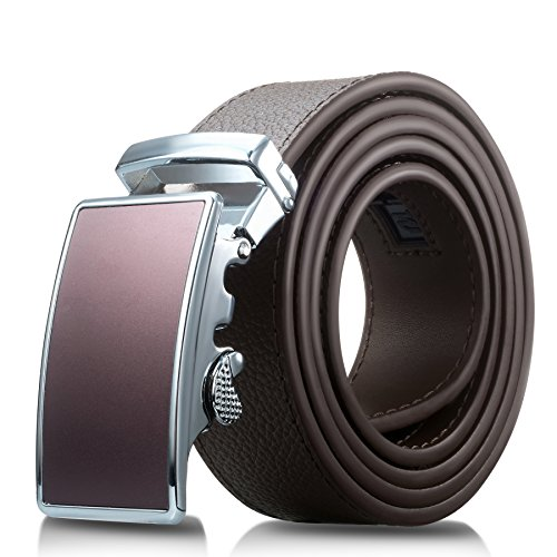 Men's Genuine Leather Belt- Ratchet Black Dress Belt for Men with Automatic Buckle. (Up to Size 46, Brown With Buckle #09)