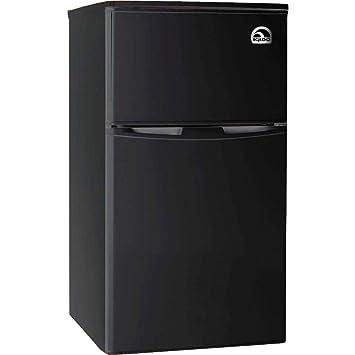 2 Door Fridge With Freezer, Black