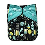 Baby Washable Ecological Diaper – with 2 Bamboo Inserts for Cloth Diapers (Science)