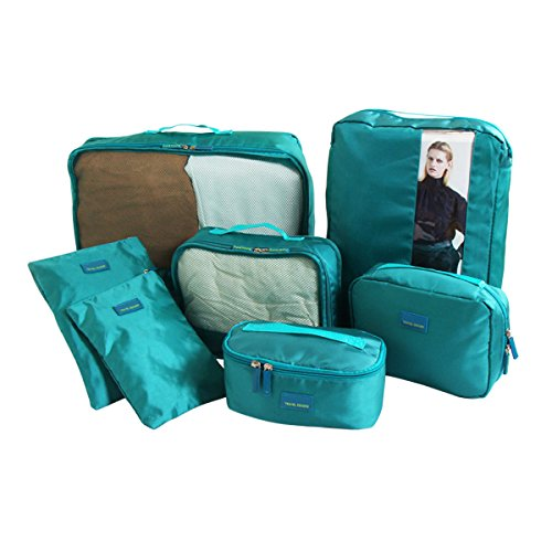 Travel Packing Organizers - Clothes Cubes Shoe Bags Laundry Pouches For Suitcase Luggage, Storage Organizer 7 Set Color Green - Rick Steves Suitcase