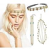 DRESHOW 3 Pack Bohemian Hair Accessories Diamond Pearl Tassel Hair Band Alice Band, Gold Leaf Chain Headband, Unique Turquoise Chain Headband (3 Pack Gold)