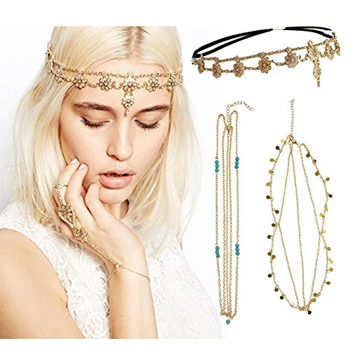 DRESHOW Hair Head Chain Jewelry Bohemian Hair accessories Diamond Pearl Tassel Hair Band Alice Band, Gold Leaf Chain Headband, Gold Leaf Chain Headband, Unique Turquoise Chain Headband (3 Pack Gold)
