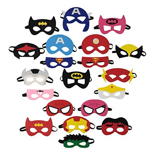 Superhero Mask Collection for Children – 20 Masks – Felt and Elastic Design – Kids Party (Superhero Face Masks)