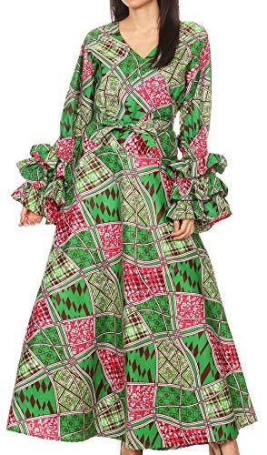 Sakkas 1616 - Tale Women's Maxi Long Sleeve Wrap Dress with Pockets African Ankara Print - 117-GreenFuchsia - OS