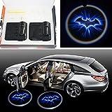 2x Night Cold Blue bat batman Black Wireless car door LED projection projector light courtesy welcome logo shadow ghost light laser projector Magnet Sensor Easy installing