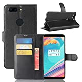 OnePlus 5T Case,MYLB Litchi Skin PU Leather [Wallet Flip Cover] [Card Holder] Stand Magnetic Folio Case for OnePlus 5T Smartphone (Black)