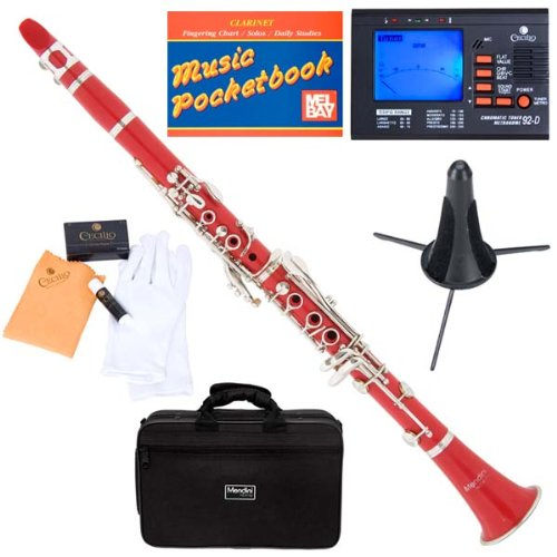 Mendini MCT-R+SD+PB+92D Red ABS B Flat Clarinet with Tuner, Case, Stand, Mouthpiece, 10 Reeds and More by Mendini