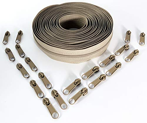 Nuburi - Zipper by The Yard - 5 Yards of Make Your Own Zipper - 20 Zipper Pulls -