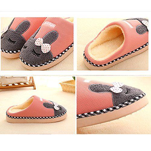 SAGUARO Winter Baumwolle Pantoffeln Plüsch Wärme Weiche Hausschuhe Kuschelige Home Rutschfeste Slippers mit Cartoon für Herren Damen Pink
