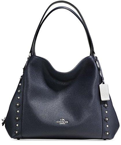 COACH Women's Floral Rivets Detail Edie 31 Shoulder SV/Navy/Black Shoulder Bag