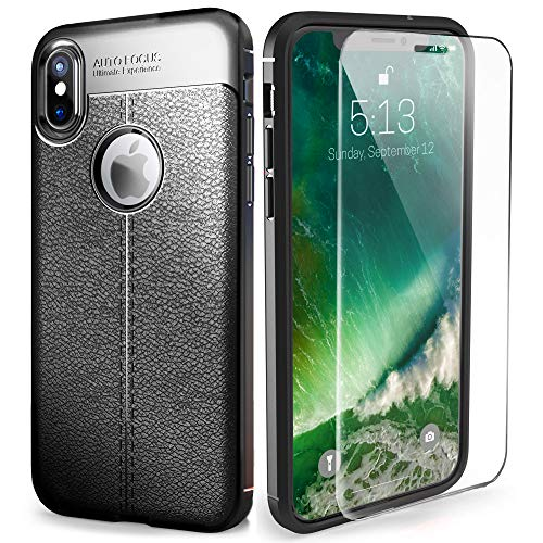 ZYN Slim Skin Soft Silicone Case for iPhone X, TPU Leather Look Case (2018) with High Screen Protector (Black)