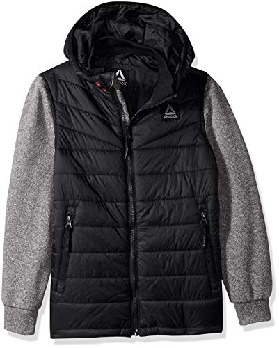Reebok Boys' Big Active Sweater Fleece Mix Jacket, Black/Heather Grey, 14/16