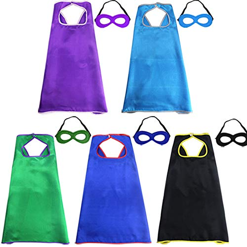 Super Hero Capes and Mask for Kids Bulk Party Favors Role Cosplay Costumes Like Superhero Style (5 Pack) ()