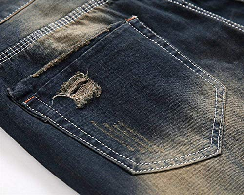 Strappati Fit Denim Vintage Slim Aderenti Taglio Alsbild Uomo Pantaloni Jeans Casual Stile Dritti Da Con qttHawpx