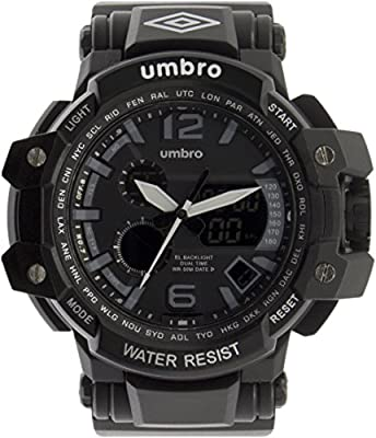 UMBRO UMB-011-1 Unisex ABS Black Band, ABS Bezel 50mm Case Digital MIYOTA AL35 SR626Sw Electronic Precision Movement Water Resistant 5 ATM Sport Watch