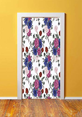 Anemone Flower 3D Door Sticker Wall Decals Mural Wallpaper,Bouquets of Roses Anemones Eustoma Colorful Corsage Bedding Plants Design Decorative,DIY Art Home Decor Poster Decoration 30.3x78.5554,Multic