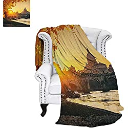 """Falltravel blanketSunset at Tiber River St Peter Rome City Italy Basilica Touristic Ancientthrow Blanket for Couch 60""""x36"""" Marigold Yellow Black"""