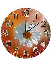 Marguerite Flower Plant Garden Yellow Orange Spring Seeds Round Wall Clock Silent Non-Ticking PVC Clock Home Decor 12 inch