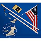 A-One 5Ft Tangle Free Spinning Flagpole Deluxe Aluminum American US Flag Pole Kit with Stainless Steel Rust Prevention Clip and Free Bracket for Outdoor Residential or Commercial Wall Mount, White