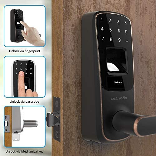 ULTRALOQ UL3 BT Smart Lock Aged Bronze , 5-in-1 Keyless Entry Door Lock with Bluetooth, Biometric Fingerprint and Touch Digital Keypad, Smart Door Lock Latch Edition