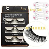 3 Paires de Long Croix Faux Cils Maquillage Naturel 3D Faux Épais Noir Eye Lashes
