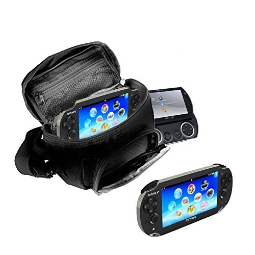 Orzly - GAME & CONSOLE TRAVEL BAG for Sony PSP Consoles (GO/VITA/1000/2000/3000) Has Special Compartments for Games & Accessories. Bag includes Shoulder Strap + Carry Handle + Belt Loop - BLACK