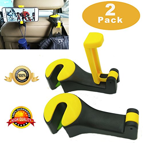 - Car Headrest Hook, Universal Car Phone Holder Upgrated 2 in 1 by Strong and Durable Backseat Headrest Hanger for Holding Phones and Hanging Bag, Purse, Cloth, Grocery - Set of 2 (Yellow)