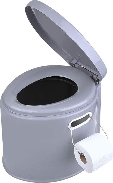 WC portátil para camping; con cubo extraíble, asiento y tapa, 7 l