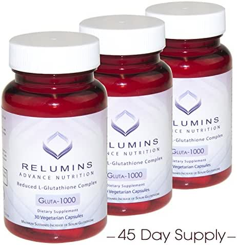 3 Bottles Relumins Advance Nutrition Gluta 1000 - Reduced L-Glutathione Complex - 30 Caps Per Bottle (45 Day Supply) -Super Value!