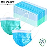 100 Pack Disposable Hypoallergenic Face Masks with Earloop, Anti Dust Bacterial Virus, Perfect for Medical, Industry and Catering, Blue and Green