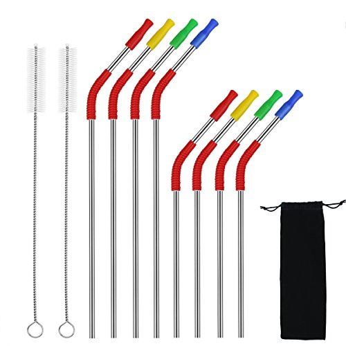 RUNFON Extra long Stainless Steel Drinking Straws (10.5 inch and 8.5 inch),For 30/20 oz Yeti & RTIC ,Ozark Tumblers Ramblers Cups with Cleaning Brushes and Storage Bag
