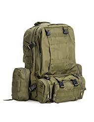 Backpack, OFTEN 40L Fabric Outdoor Rainproof Hiking Camping Millitary Tactical Detachable Backpack Laptop Daypack Bag (Green)