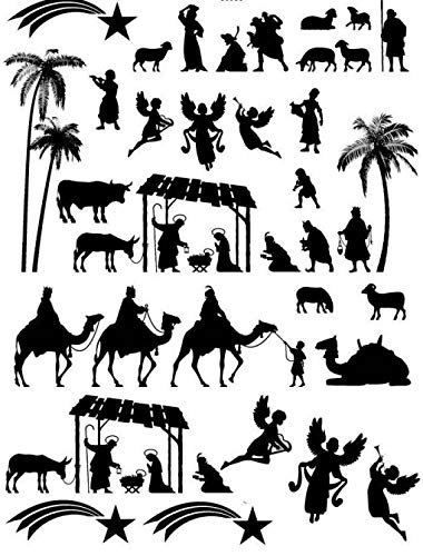 Nativity Silhouettes - 66866 - Ceramic Decal - Enamel Decal - Glass Decal - Waterslide Decal - 3 Different Size Sheet (Images) to Choose from. Choose Either Ceramic (Enamel) or Glass Fusing Decals