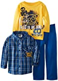 Little Rebels Little Boys' 3 Piece Rad To The Bone Shirt And Pant Set, Blue, 3T