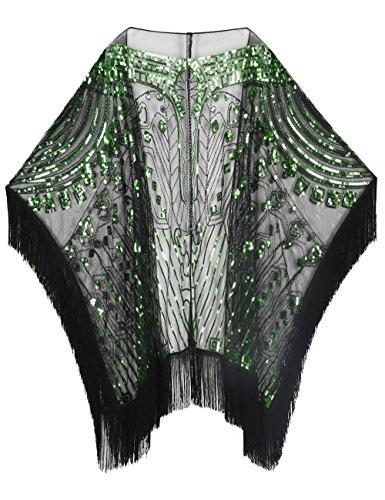 Kayamiya Women's Oversized Hand Beaded and Sequin Evening Shawl Wrap with Fringe Green