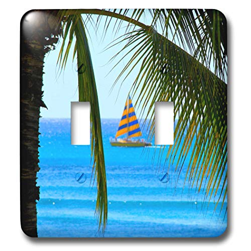 3dRose Elysium Photography - Seascape - Sailboat through palm fronds, Honolulu, Hawaii - Light Switch Covers - double toggle switch (lsp_289621_2)