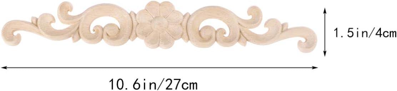 BESPORTBLE 4pcs Wood Carved Onlay Applique Unpainted Rose Flower Applique for DIY Craft Door Home Furniture Decoration