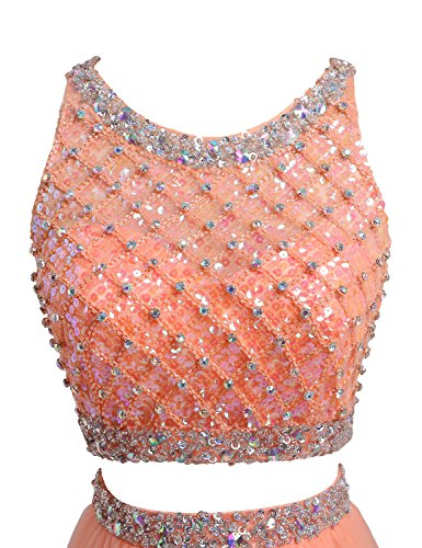 SeasonMall Women's Prom Dress Two Pieces Bateau Beaded Bodice Tulle Dresses Size 6 US Orange by SeasonMall (Image #2)