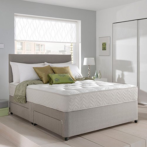 Grey Suede Memory Foam Divan Bed Set With Mattress, Headboard and 2 free drawers 6ft Super King Size