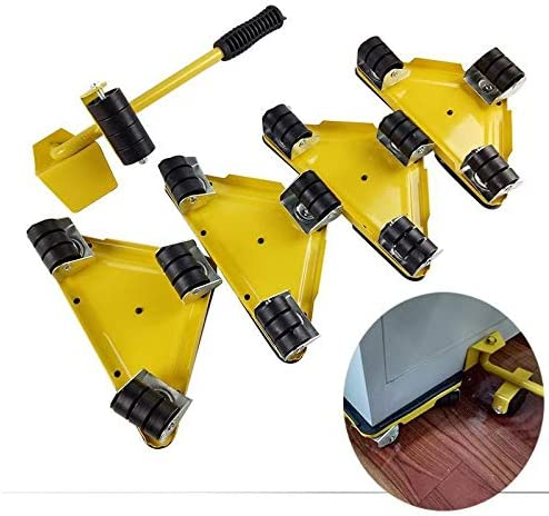 Casters 5pcs Furniture Lifter Moves Wheels Mover Sliders Kit 660 lbs Home Moving System 4 Mover Roller Color : Yellow 1 Wheel Bar Durable