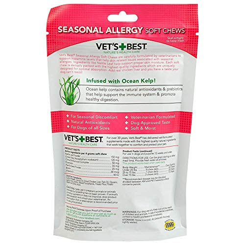 Picture of Vet's Best Seasonal Allergy Soft Chews Dog Supplements, 30 Day Supply