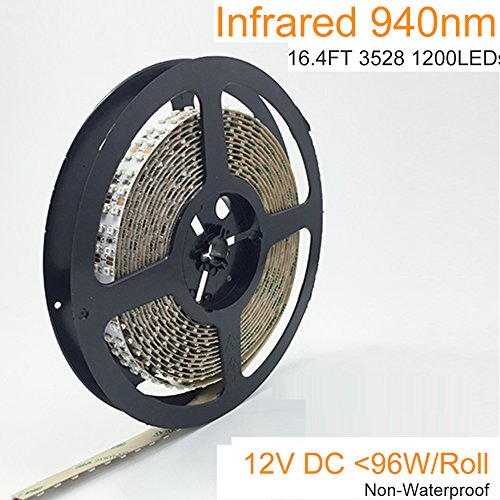 LightingWill DC12V 5Meter/16.4ft 96W SMD3528 1200LEDs InfraRed 940nm Double Row High Intensity Flexible LED Strips 240LEDs/M, Non-waterproof by LightingWill