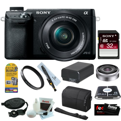 Sony NEX-6L/B 16.1MP Compact Interchangeable Lens w/ 3″ LED Screen Digital Camera in Black w/ 16-50mm Power Zoom Lens and 16mm F2.8 E Nex System Zoom Lens + Sony 32GB Class 10 + Accessory Kit, Best Gadgets