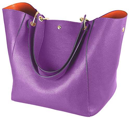 SQLP Work Tote Bags for Women's Leather Purse and handbags ladies Waterproof Shoulder commuter Bag purple ()