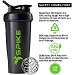 Spike Protein Shaker Blender Bottle for Whey Protein Mix, Cycling, Gym Water Bottle with Stainless Steel Blender Ball…