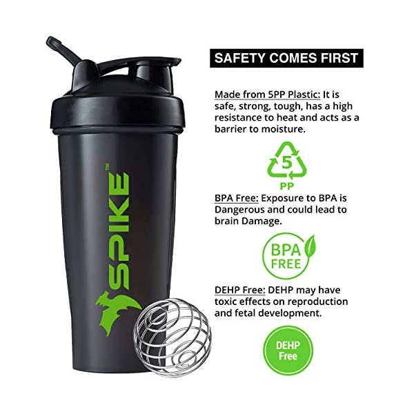 Spike Protein Shaker Blender Bottle for Whey Protein Mix, Cycling, Gym Water Bottle with Stainless Steel Blender Ball… 2021 July SAFE AND HEALTHY: Spike Protein shaker water bottles are 100% BPA and DEHP free and made from environmentally friendly, nontoxic and recyclable materials. All cups are dishwasher safe for easy cleaning. Made With 5 PP (polypropylene). Polypropylene is a low-toxin plastic that is tolerant of heat. NO LEAK LIDS: The wide mouth bottle cap locks in place to prevent messy spills from happening. Spike Protein shaker bottle is leak proof. EASY TO TRANSPORT: The Spike Protein Shaker Bottle also includes a sturdy lid loop for easy transport to and from the gym. The Spike Protein Shaker is just the right size that fits in nearly all cup holders.