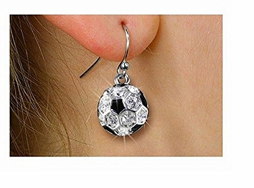 Silver Tone And Crystal Mini Soccer Ball Charm Earrings by Lonestar Jewelry