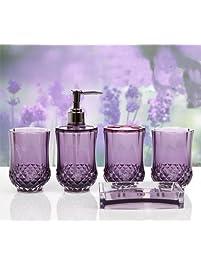 HQdeal 5PC Set Acrylic Bathroom Accessories Bathroom Set Glamarous Purple
